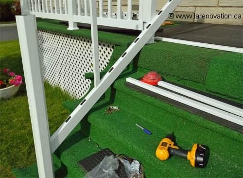 Installation d 39 une rampe en pvc for Calcul escalier exterieur